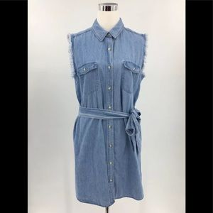 7 For All Mankind NWT Chambray Dress Size L $219